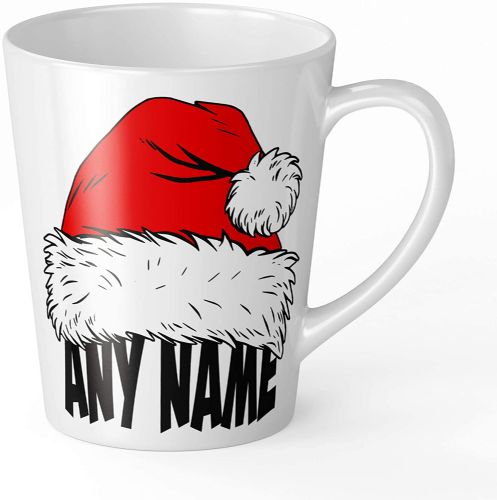 Personalised Any Name Santa Hat Festive Novelty Gift Latte Mug